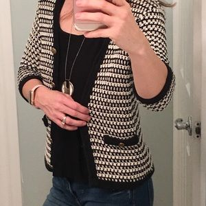 : CAbi : Black and white knitted sweater